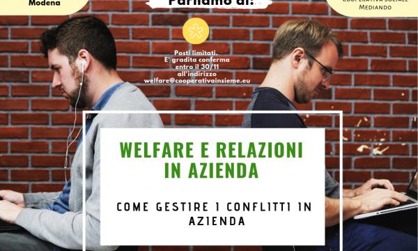 WELFARE E RELAZIONI IN AZIENDA…MODENA 4 DICEMBRE 2018 ORE 18.00/19.00